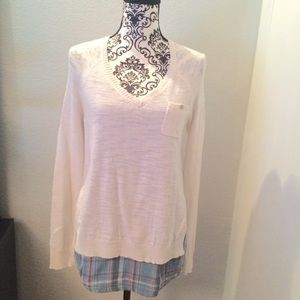 Anthropologie/Moth Checked Hem Pullover Sweater